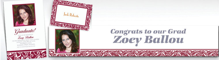 Custom Berry Ornamental Scroll Invitations & Thank You Notes