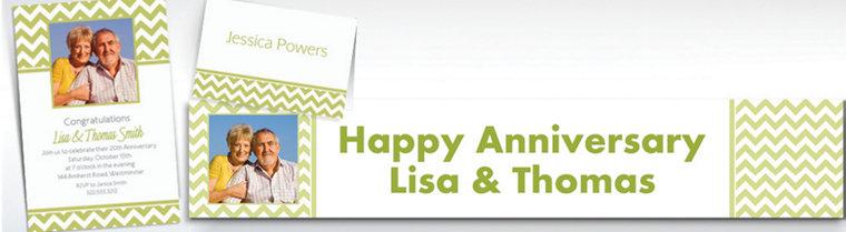 Custom Leaf Green Chevron Invitations & Thank You Notes