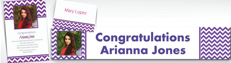 Custom Purple Chevron Invitations & Thank You Notes