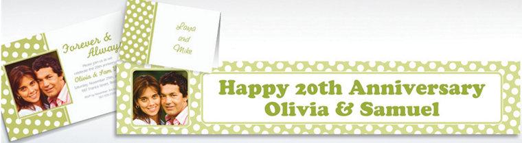 Custom Leaf Green Polka Dot Invitations & Thank You Notes