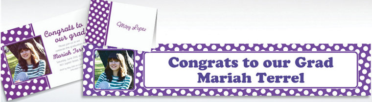 Custom Purple Polka Dot Invitations & Thank You Notes