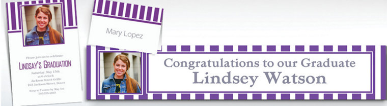 Custom Purple Striped Invitations & Thank You Notes
