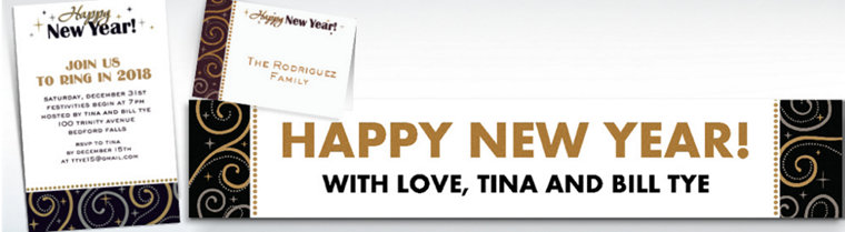 Custom Sparkling New Year's Invitations & Thank You Notes