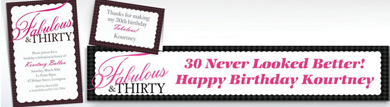 Custom Fabulous & Thirty Invitations