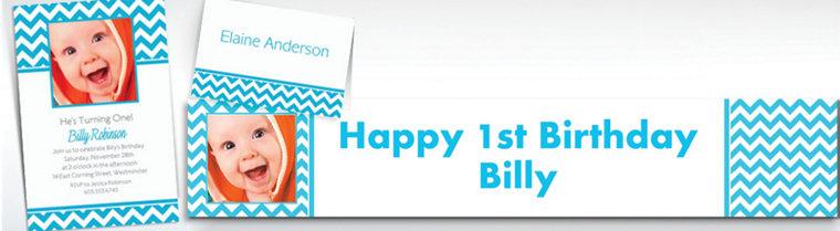 Custom Caribbean Blue Chevron Invitations & Thank You Notes