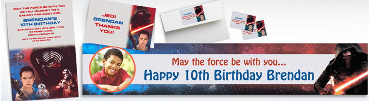 Custom Star Wars 7 The Force Awakens Invitations, Thank You Notes & Banners