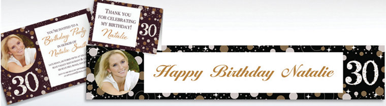 Custom Sparkling Celebration 30 Invitations & Thank You Notes