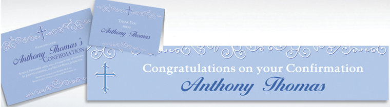 Custom Filigree & Cross Blue Invitations & Thank You Notes
