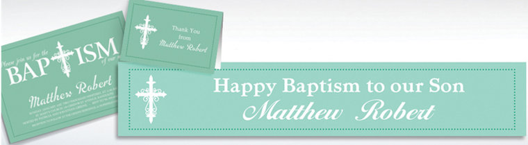 Custom Fancy Baptism Cross Teal Invitations & Thank You Notes