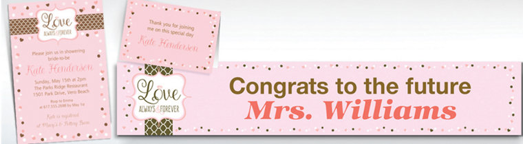 Custom Pink & Brown Wedding Invitations & Thank You Notes