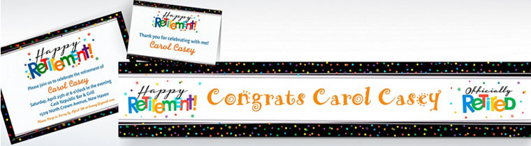 Custom Happy Retirement Celebration Invitations & Thank You Notes