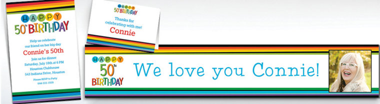 Custom Rainbow 50th Birthday Banners, Invitations & Thank You Notes