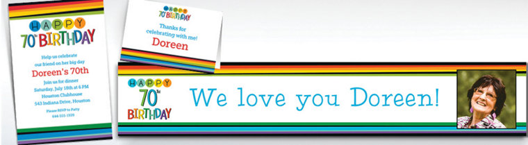 Custom Rainbow 70th Birthday Banners, Invitations & Thank You Notes