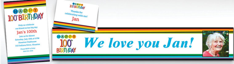 Custom Rainbow 100th Birthday Banners, Invitations & Thank You Notes