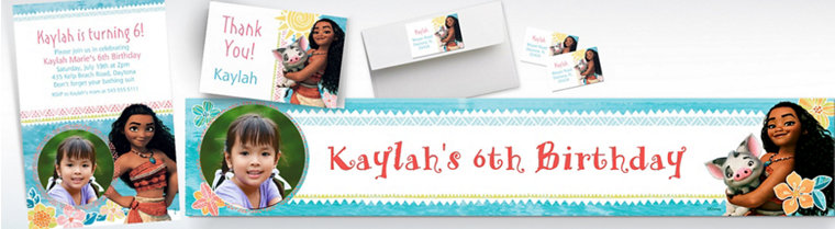 Custom Moana Banners, Invitations & Thank You Notes