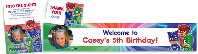 Custom PJ Masks Invitations, Thank You Notes & Banners