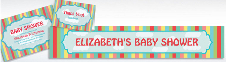 Custom Stripes & Clouds Invitations, Thank You Notes & Banners