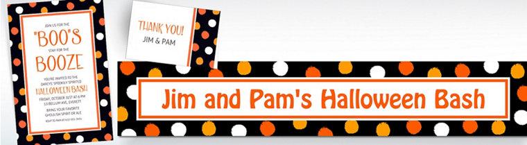 Custom Polka Dot Halloween Invitations, Thank You Notes & Banners