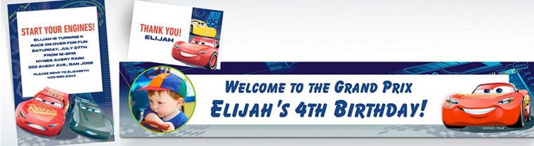 Custom Cars 3 Invitations, Thank You Notes & Banners