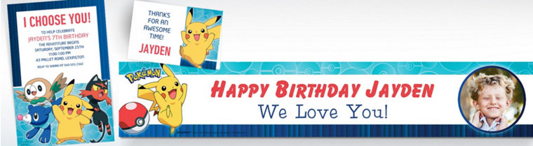 Custom Pokemon Core Invitations, Thank You Notes & Banners