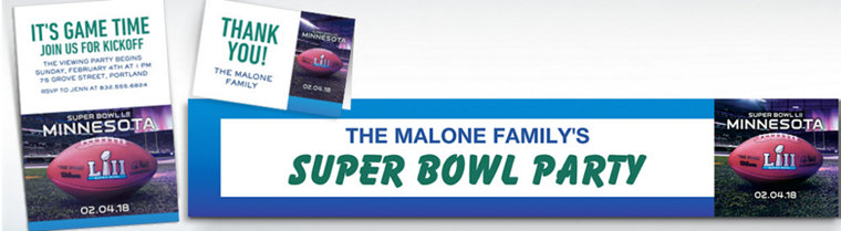 Custom Super Bowl 52 Invitations, Thank You Notes & Banners
