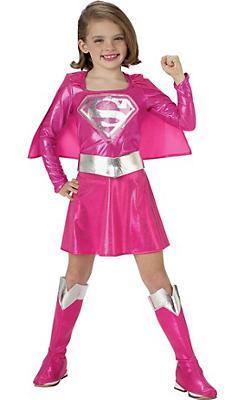 Toddler Girls Pink Supergirl Costume - Superman