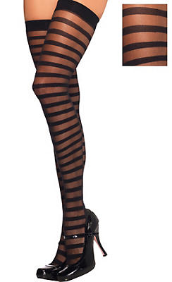 Adult Sheer Stripe Thigh High Stockings