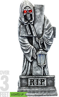 Light-Up Grim Reaper Tombstone Decoration