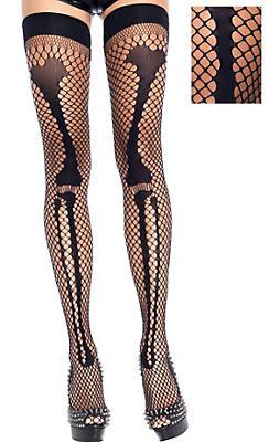 Adult Skeleton Bone Fishnet Thigh-High Stockings