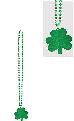 Glitter Shamrock Pendant Necklace