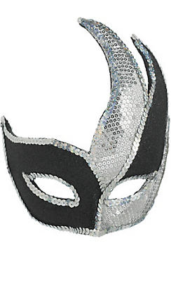 Black & Silver Sequin Masquerade Mask