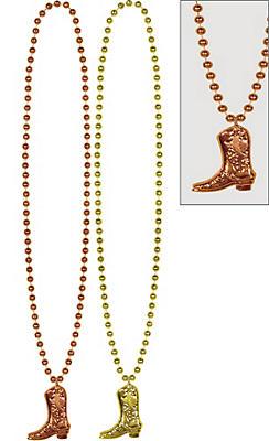 Cowboy Boot Pendant Bead Necklaces 2ct