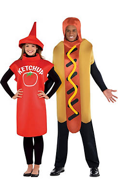 Adult Ketchup & Mustard Couples Costumes