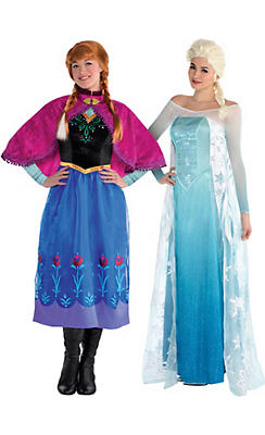 Adult Anna & Elsa Couples Costumes - Frozen