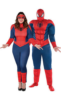 Adult Spider-Girl & Spider-Man Couples Costumes Plus Size