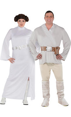 Adult Luke Skywalker & Princess Leia Couples Costumes Plus Size - Star Wars