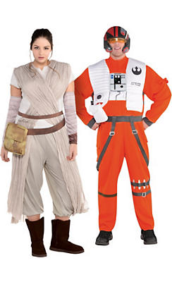 Adult Poe Dameron & Rey Couples Costumes Plus Size - Star Wars 7: The Force Awakens
