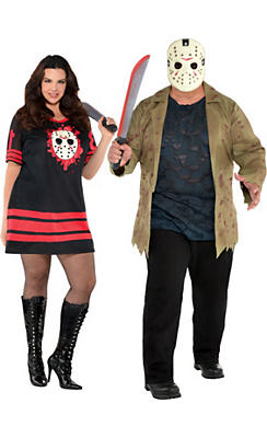 Adult Friday the 13th Couples Costumes Plus Size
