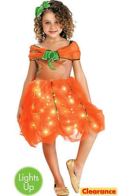 Girls Light-Up Pumpkin Princess Dress