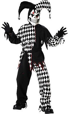 Boys Black and White Evil Jester Costume