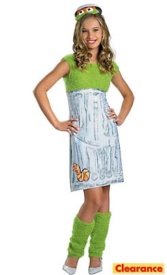 Girls Oscar the Grouch Costume - Sesame Street