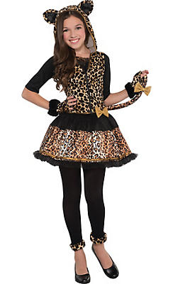 Girls Sassy Spots Leopard Costume