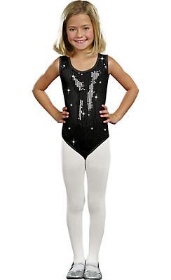 Girls Black Sequin Bodysuit