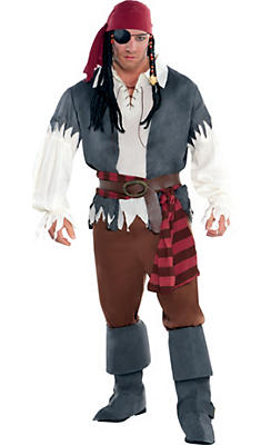 Adult Castaway Captain Pirate Costume Plus Size