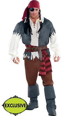 Adult Castaway Captain Pirate Costume Plus Size