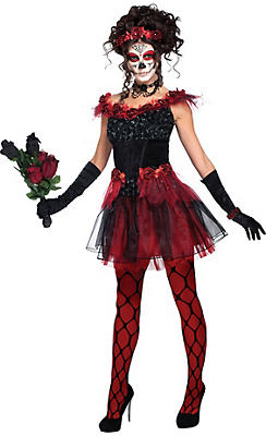 Adult Red Rose Sugar Skull Costume - Day of the Dead