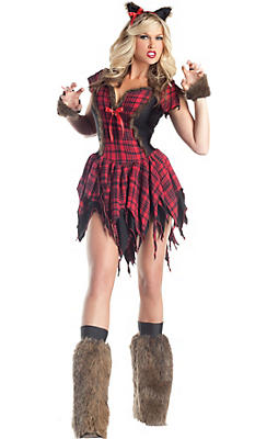 Adult Sultry Plaid Werewolf Costume