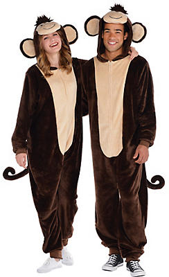 Adult Zipster Monkey One-Piece Pajama Costume