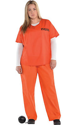 Adult Orange Prisoner Costume Plus Size