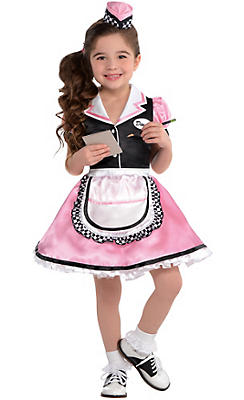 Girls Dinah Girl Waitress Costume